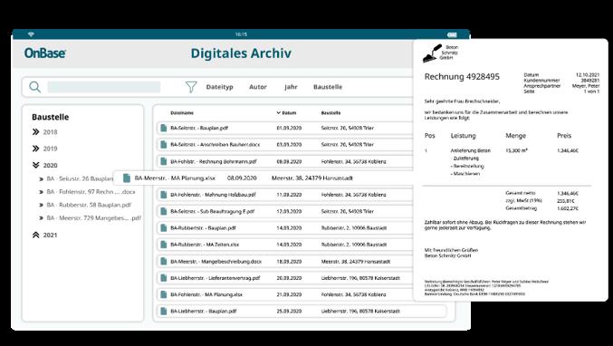 Digitales Archiv Bauwesen mit OnBase