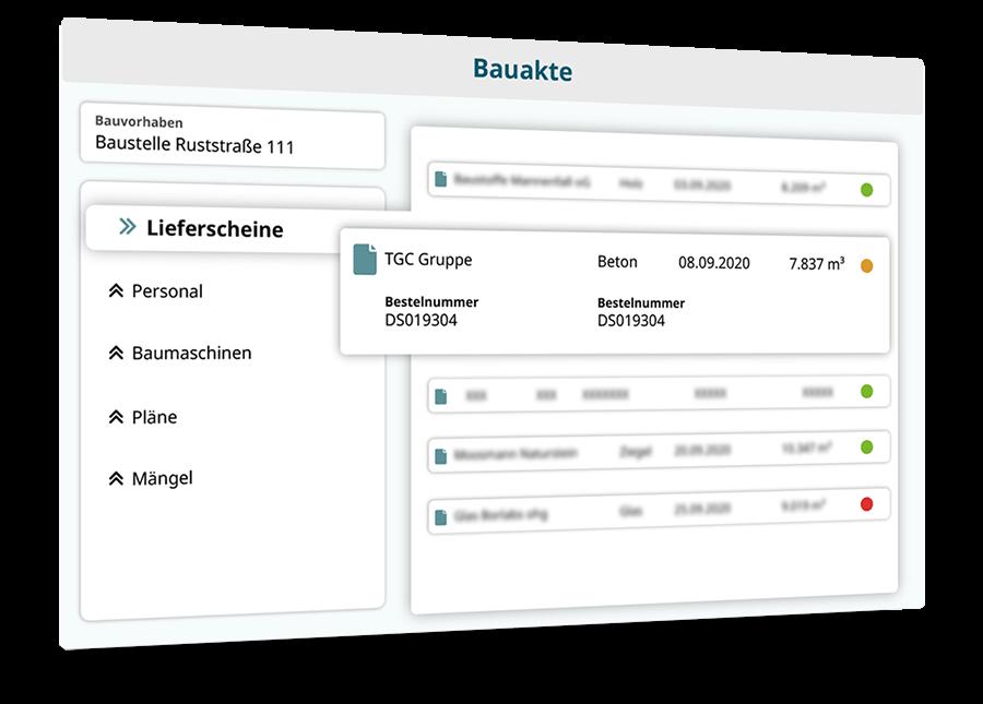 Beispielhafte Abbildung von Digitaler Bauakteisualisiert Funktionen von OnBase